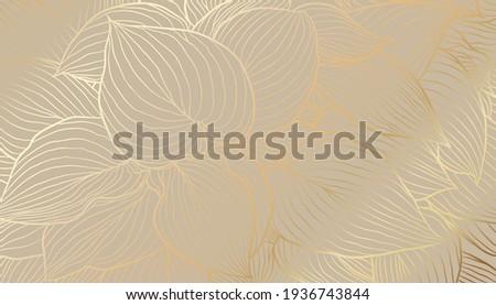 Digital vector illustration - golden hosta leaves in hand drawn line art on beige background. Luxurious art deco wallpaper design for print, poster, cover, banner, fabric, invitation.