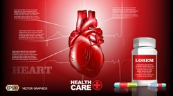 Digital Vector Infographic Realistic Human Heart. Premium quality illustration detailed organs. Health care pills