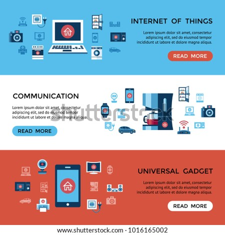Digital vector red internet of things control infographics concept objects color simple flat icon set collection, isolated #1016165002