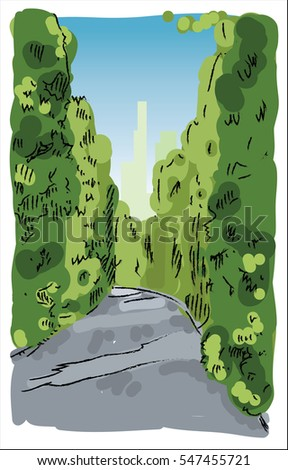 digital vector sketch of a road