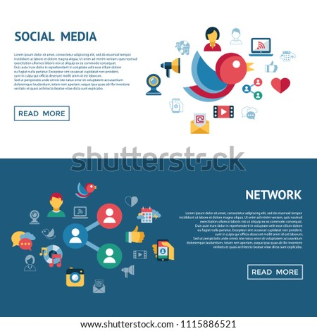 Digital vector social media and communication network icon set infographics #1115886521