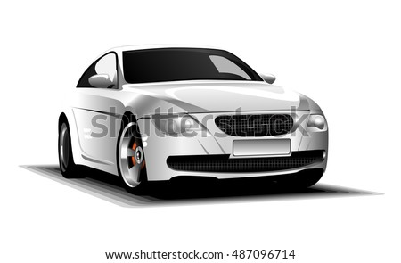Digital vector white and silver sport race car, modern and realistic, front view
