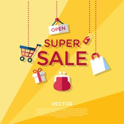 Digital vector yellow shopping super sale icons with drawn simple line art info graphic, presentation with money, bag and economy elements around promo template, flat style
