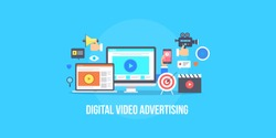 Digital video advertising, Media marketing, Video content promotion flat vector illustration with media icons