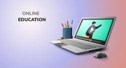 Digital Video Online Education on laptop mobile phone website background social distance concept
