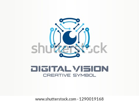 Digital vision creative symbol concept. Circuit robot eye, vr system abstract business logo. Cctv monitor, security scan control, video camera icon. Corporate identity logotype, company graphic design
