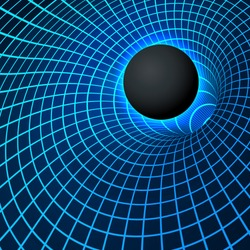 Digital visualisation Black Hole. Physics - anomalous black hole phenomenon. Singularity and event horizon - warp space and time. Vector illustration in blue color