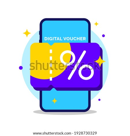 Digital voucher on smartphone screen concept illustration flat design vector eps10. graphic element for infographic, landing page, empty state app or web ui, icon