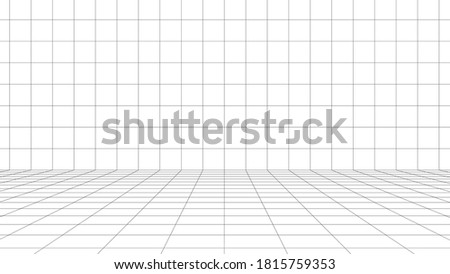 Digital wall box white background with black grid space line color surface. Network cyber technology. banner, cover, terrain, sci-fi, wireframe, and related to background. Photo stock ©