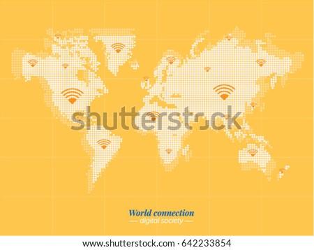 digital world blue bitmap of