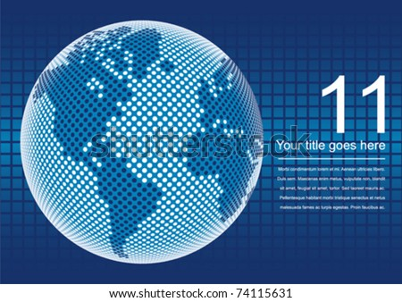 Digital technology earth world map on blue background with dots digital world map with copy space vector gumiabroncs Gallery