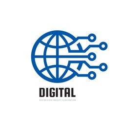 Digital world - vector business logo template concept illustration. Globe abstract sign and electronic network. Technology design elements