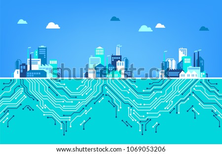 Digitalization concept / IOT / digital transformation: three factories, connected by digital circuits