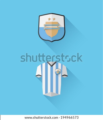 Digitally generated argentina jersey and crest vector