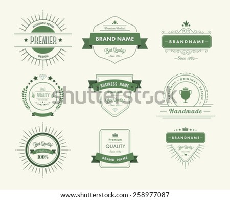 Digitally generated Green premium quality advertisement badges