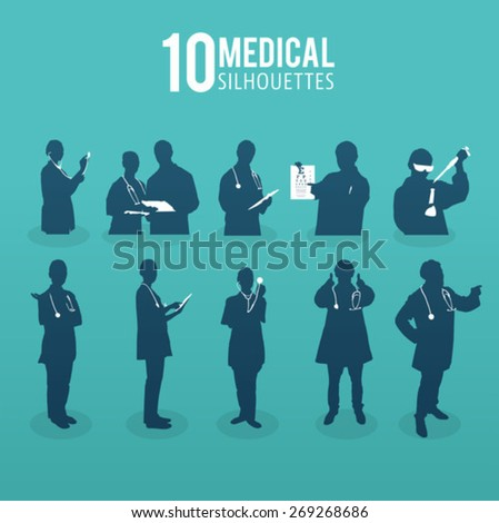 Digitally generated Ten medical silhouettes vector