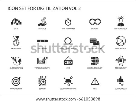 Digitilization vector icons for topics like Dev Ops, data, Digital services, digital product, globalization, technology, integration, agile development, social media