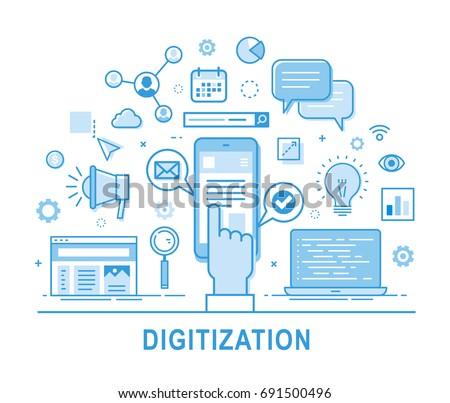 Digitization vector concept illustration with hand clicking on smartphone. Social network, media communication, SEO, SEM, promotion, media planning. Thin line design. Infographics doodle elements.