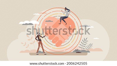 Dignity relationship with honor and respect attitude tiny person concept. Partnership esteem, support and care scene with heart shape handshake vector illustration. Trust and equality in togetherness.