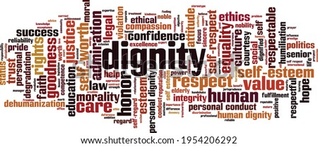 Dignity word cloud concept. Collage made of words about dignity. Vector illustration Сток-фото ©