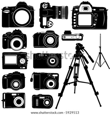 dijital photo camera and tripod vector
