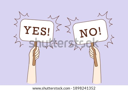 Dilemma, dispute, choice hesitation concept. Human hands holding Yes No banners meaning test question, opposition, choice, deciding process vector illustration