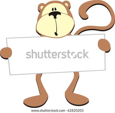 dim monkey with blank board for