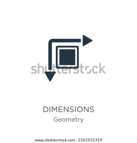 Dimensions icon vector. Trendy flat dimensions icon from geometry collection isolated on white background. Vector illustration can be used for web and mobile graphic design, logo, eps10