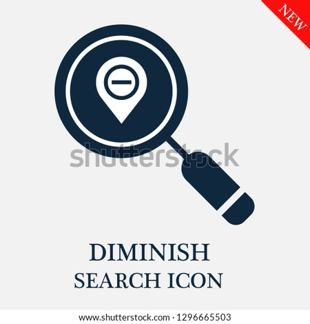 Diminish search icon. Editable Diminish search icon for web or mobile.