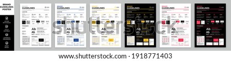 DIN A3 Brand Guidelines Poster Layout Set, Brand Manual Templates, Simple style and modern layout Brand Identity, Brand Guidelines Foto d'archivio ©