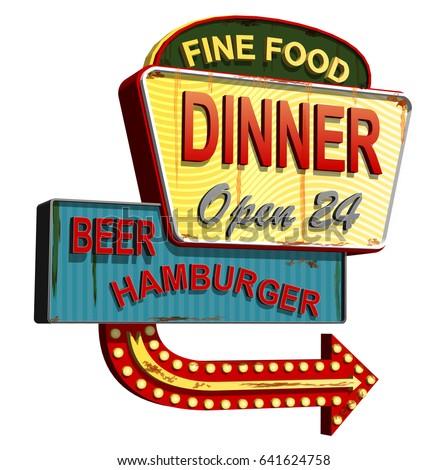 Diner old signage,vintage metal sign. Сток-фото ©
