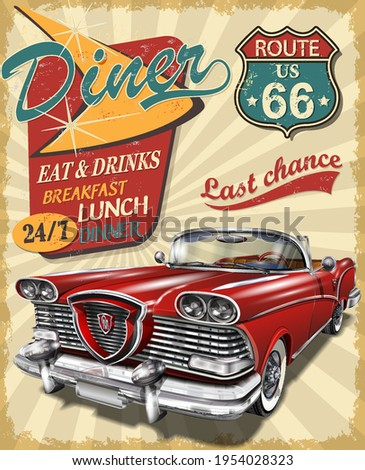 Diner route 66 vintage poster with Diner sign and retro car. Сток-фото ©