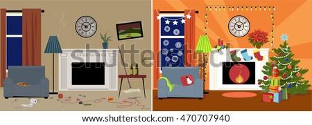 dingy messy family room