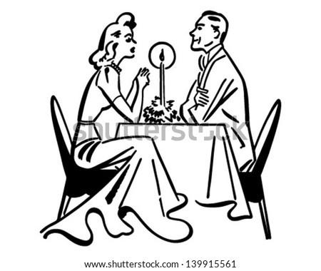Dining Couple - Retro Clip Art Illustration