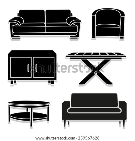 Dining Room Vector Dining Room Icons Set Great