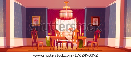 Dining room interior in classic victorian style with feast table, chairs and chandelier. Vector cartoon illustration of vintage baroque furniture in old banquet hall with candles, flowers and goblets