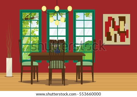 Dining Room Interior With Table Chair Hanging Lamp And Wall Decoration Vector Illustration