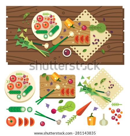 Dining table with vegetables top view. Diet. Vegetarian food. Cooking in kitchen, vegan salad in process. Vector flat illustration
