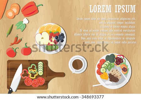 Dining Table With Vegetables Top View Vegetarian Food