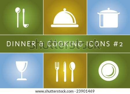 Dinner & Cooking Vector Icon Set #2