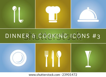 Dinner & Cooking Vector Icon Set #3