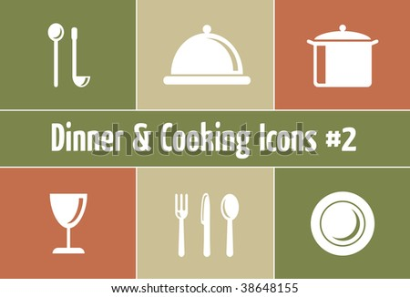 Dinner & Cooking Vector Icon Set - Italian Style
