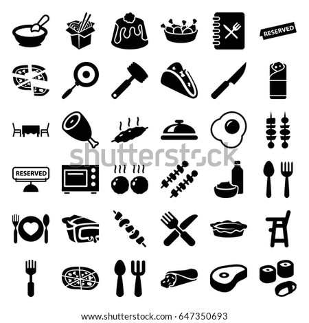 Dinner icons set. set of 36 dinner filled icons such as beef, spoon and fork, dish, porridge, baby chair, fork and spoon, wrap sandwich, taco, pizza, chicken leg