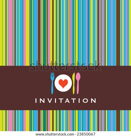 Dinner invitation with spoon, fork, knife and dinnerplate, striped retro background