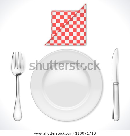 Dinner place setting isolated on white. Vector Illustration