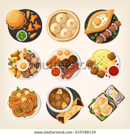 Dinner table closeup. Top view on classic dinner dishes from different countries of the world. Food from national cuisines on a table. View from above. Isolated vector illustrations. Part 1/3