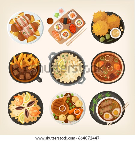 Dinner table closeup. Top view on classic dinner dishes from different countries of the world. Food from national cuisines on a table. View from above.  Vector illustrations. Part 2/3