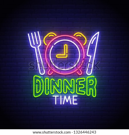 Dinner Time neon sign, bright signboard, light banner. Dinner logo neon, emblem. Vector illustration