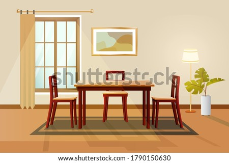Dinning room Interior Home Architecture, Interior vector illustration. Vector banner. modern home interior design and decor accessories.