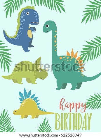 Dino Birthday party greeting card. Vector illustration